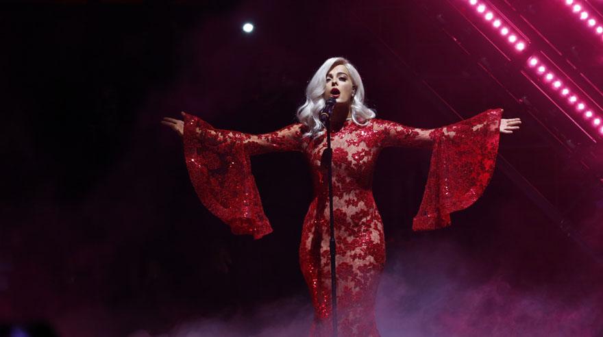 Presenter Bebe Rexha performs during the MTV European Music Awards 2016, in Rotterdam, Netherlands, Sunday, Nov. 6, 2016. (AP Photo/Peter Dejong)